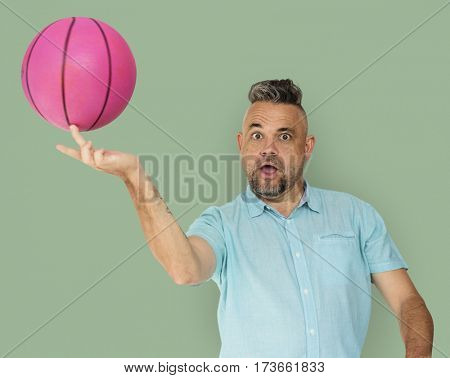 Old Man Playing Basketball concept