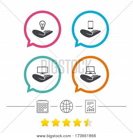 Helping hands icons. Intellectual property insurance symbol. Smartphone, TV monitor and pc notebook sign. Device protection. Calendar, internet globe and report linear icons. Star vote ranking. Vector