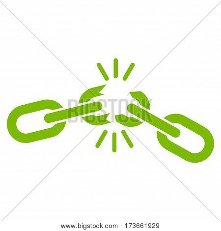 Chain Damage vector icon. Flat eco green symbol. Pictogram is isolated on a white background. Designed for web and software interfaces.