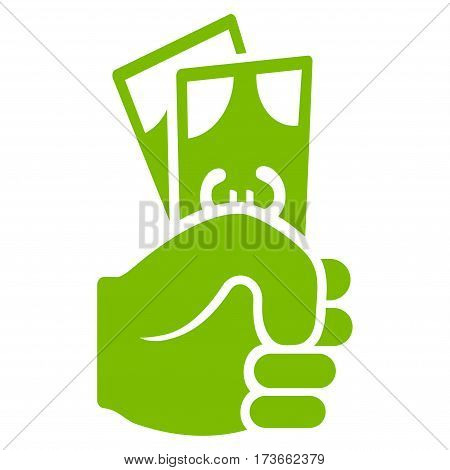 Euro Banknotes Salary vector icon. Flat eco green symbol. Pictogram is isolated on a white background. Designed for web and software interfaces.