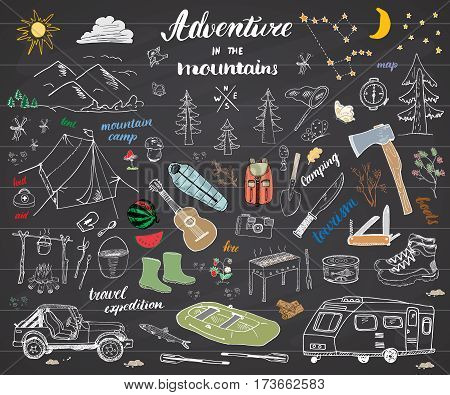 Camping Hiking Hand Drawn sketch doodle set vector illustration with mountains tent raft grill and campfire axe and knife pine trees tourist food trekking shoes and rubber boots. on chalkboard poster