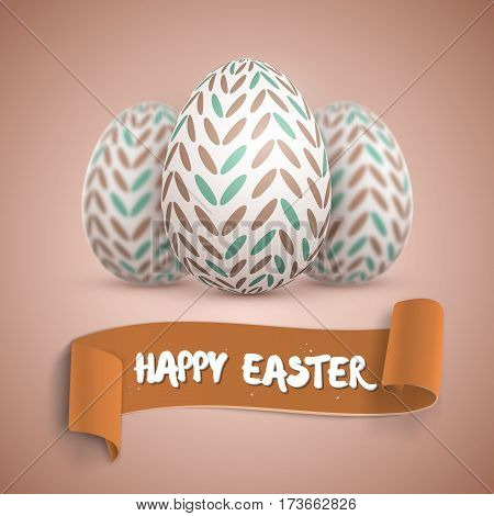 Illustration of Vector Easter Egg Set. Happy Easter Painted Vector Egg Set with Ribbon Banner and DOF Photography Effect