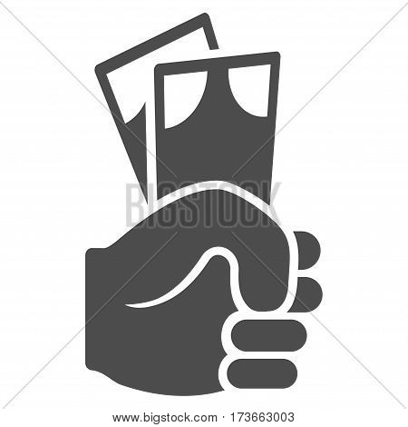 Banknotes Salary Hand vector icon. Flat gray symbol. Pictogram is isolated on a white background. Designed for web and software interfaces.