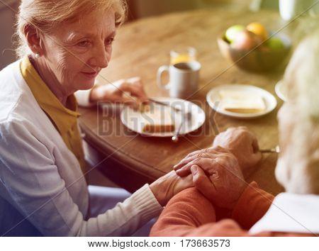 Photo Gradient Style with Senior Adult Couple Eat Breakfast