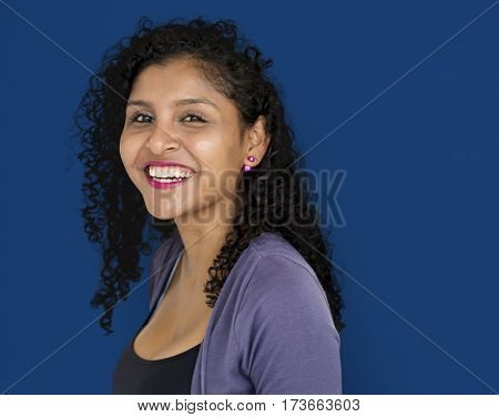 Woman Smiling Happiness Studio Portrait