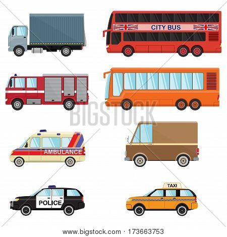City transport set taxi, bus, truck, minibus, car, police, ambulace, fire engine. Vector flat illustrations