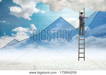 Businessman drawing charts in the sky
