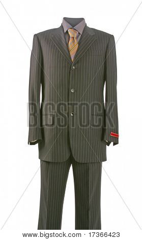 man suit jacket and yellow strip tie