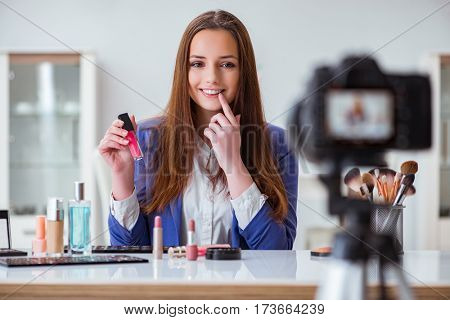 Beauty fashion blogger recording video