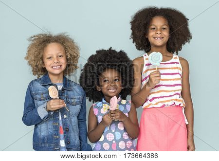 Young Children Smiling Friends Sweet
