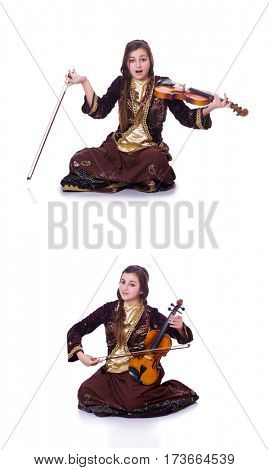 Woman playing violin on white