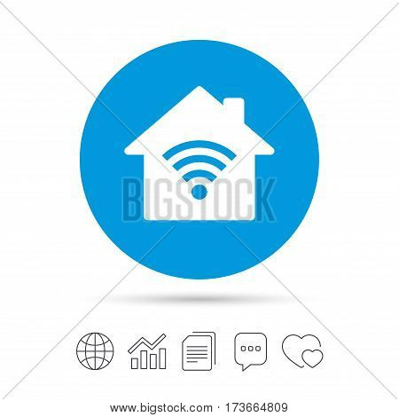 Home Wifi sign. Wi-fi symbol. Wireless Network icon. Wifi zone. Copy files, chat speech bubble and chart web icons. Vector