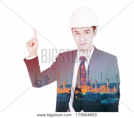 Double Exposure Of Engineer Against Petrochemical Industrial Plant Isolated On White Background