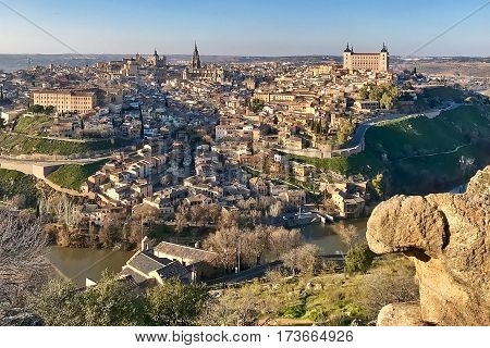 Toledo, Spain, February 17, 2017: A view to Toledo in Spain.