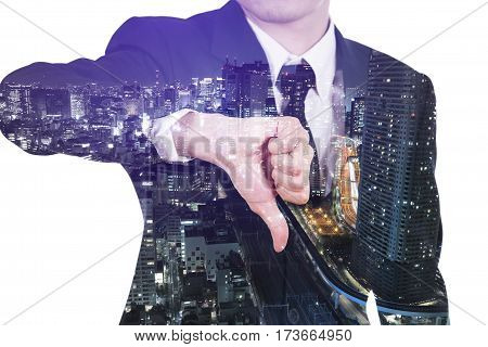 Double Exposure Of Business Man Showing Thumbs Down Gesture Against City Isolated On White Backgroun