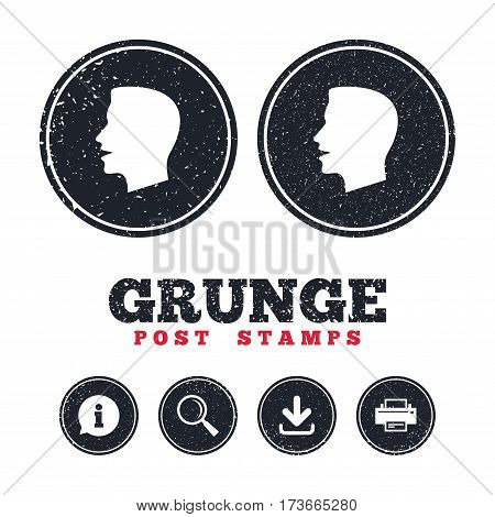Grunge post stamps. Talk or speak icon. Loud noise symbol. Human talking sign. Information, download and printer signs. Aged texture web buttons. Vector