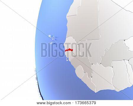 Gambia On Metallic Globe
