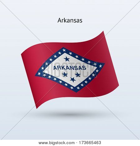State of Arkansas flag waving form on gray background. Vector illustration.