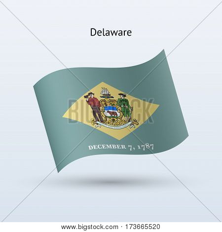State of Delaware flag waving form on gray background. Vector illustration.