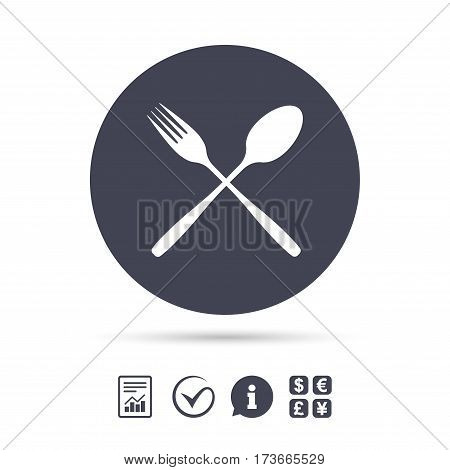 Eat sign icon. Cutlery symbol. Fork and spoon crosswise. Report document, information and check tick icons. Currency exchange. Vector