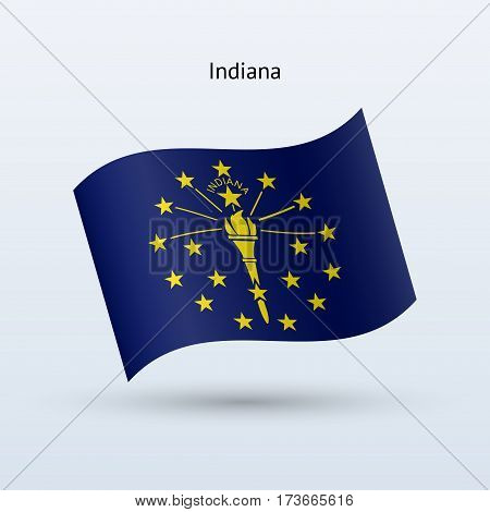 State of Indiana flag waving form on gray background. Vector illustration.