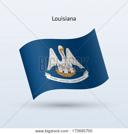 State of Louisiana flag waving form on gray background. Vector illustration.