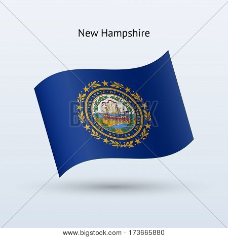 State of New Hampshire flag waving form on gray background. Vector illustration.