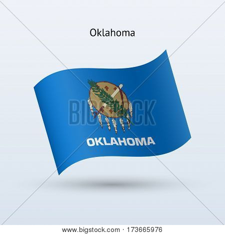 State of Oklahoma flag waving form on gray background. Vector illustration.
