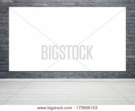 Empty white poster in room interior with brick wall and wood floor background