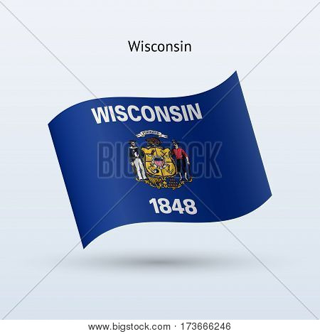 State of Wisconsin flag waving form on gray background. Vector illustration.