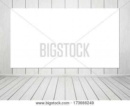 Empty Poster In Room Interior With Wood Wall And Floor Background