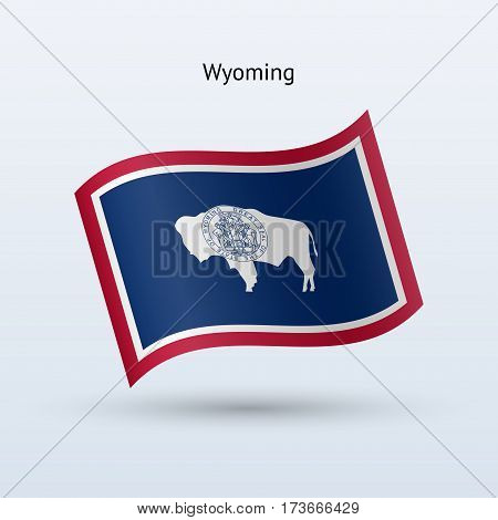 State of Wyoming flag waving form on gray background. Vector illustration.