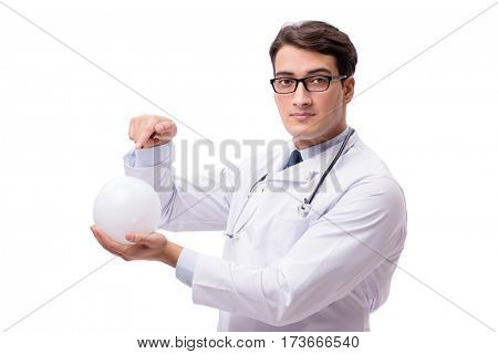 Doctor with crystal ball isolated on white background