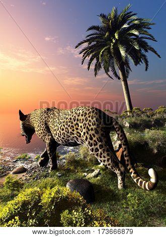Leopard on the beach.,3d render
