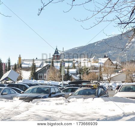 British Columbia,Canada-March 1 2017:Little Village of Whistler, BC Canada lot's of snow