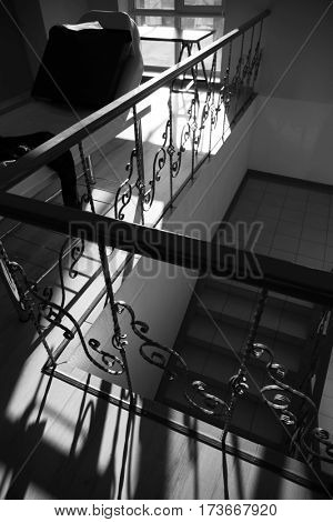 Stairs with iron railing