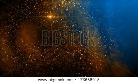 Elegant fantasy abstract technology, science and engineering background with golden particles over blue backdrop. Star light. Depth of field settings. 3d rendering.