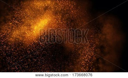 Elegant fantasy abstract technology, science and engineering background with golden particles. Depth of field settings. 3d rendering.