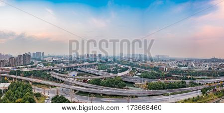 Aerial View of Suzhou overpass in China.