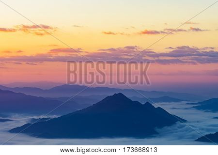 Sunrise At Phu Chee Dao Peak Of Mountain In Chiang Rai,thailand