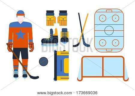 Vector hockey uniform and accessory in flat style. Isolated equipment athlete attribution clothes. Championship forward professional leisure athlete skating.