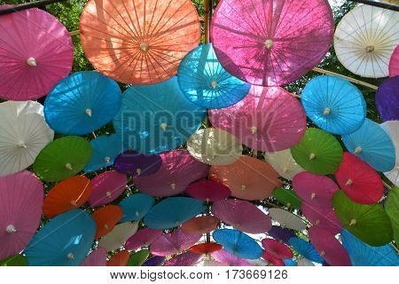 Colorful Paper umbrella handmade umbrella Colorful umbrellas background