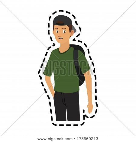 handsome young man with backwards baseball hat icon image vector illustration design