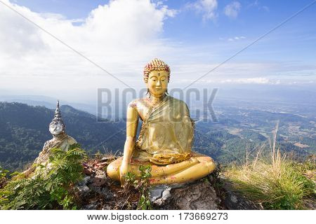 the beautiful Buddha with Twilight sky background.