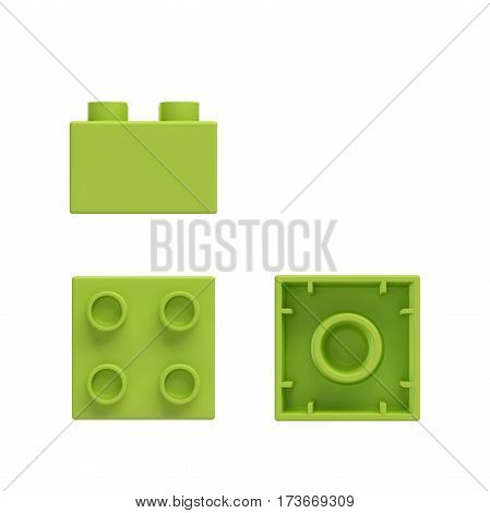 3d rendering of a green toy block shown from side, front and bottom view. Toy blocks and sets. Building blocks. Games and puzzles.