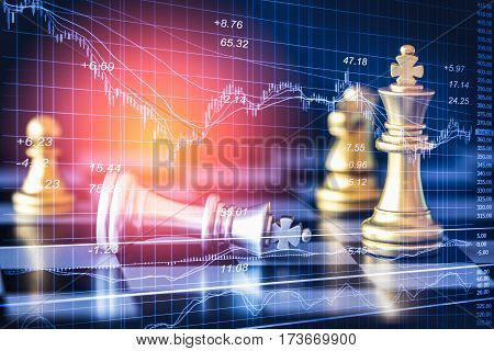 Business graph on chess board background. Digital business on LED. Business strategy. Business game concept. Business graph. Business Analysis. Business statistic. Business game background for all business advertising, business content.