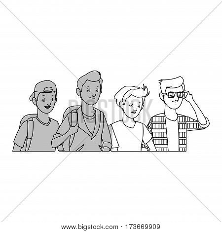 group of handsome cool young men icon image vector illustration design