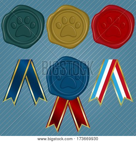 Different color Wax Seals with embossed Paw and different collection of ribbon