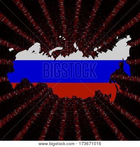 Russian Federation map flag on red hex code burst 3d illustration