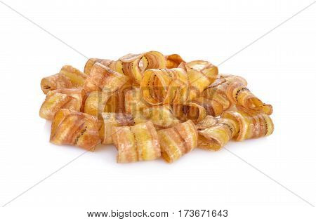 crispy banana chips with caramel on white background